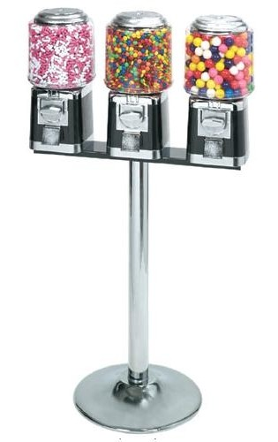 Standard Triple Candy Or Gumball Machine With Stand